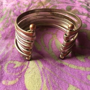 🔮Silver & copper ringed cuff bracelet set